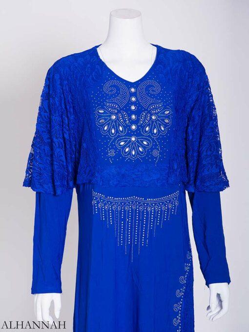 Embellished Rhinestone Laced Shoulder Abaya ab713 (4)