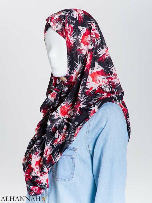 Floral Burst Lycra Square Hijab hi2165 (1)