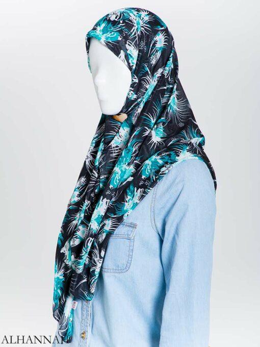 Floral Burst Lycra Square Hijab hi2165 (2)