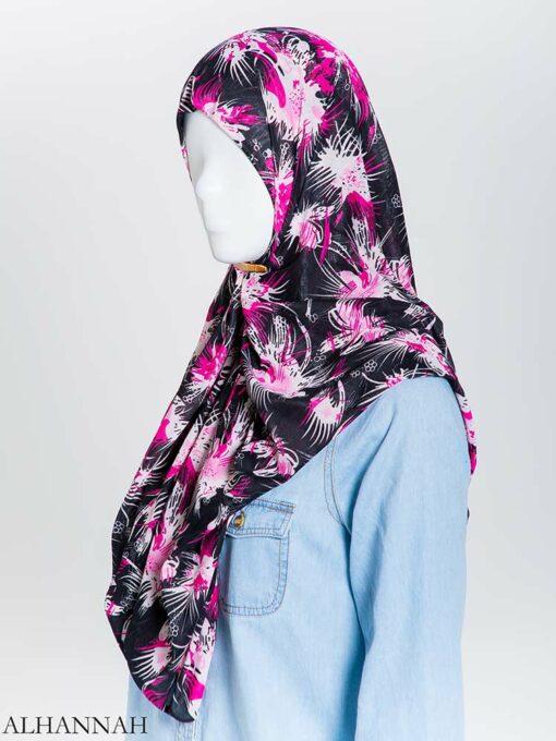 Floral Burst Lycra Square Hijab hi2165 (4)
