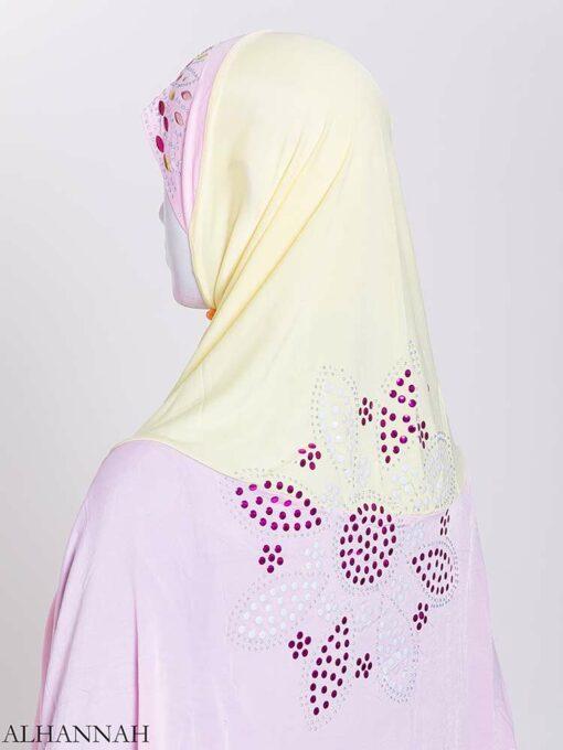 Floral Rhinestone Sequined Shoulder Length Al-Amira Hijab hi2169 (2)