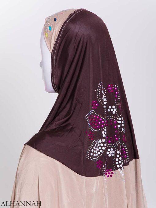 Floral Rhinestone Sequined Shoulder Length Al-Amira Hijab hi2169 (3)