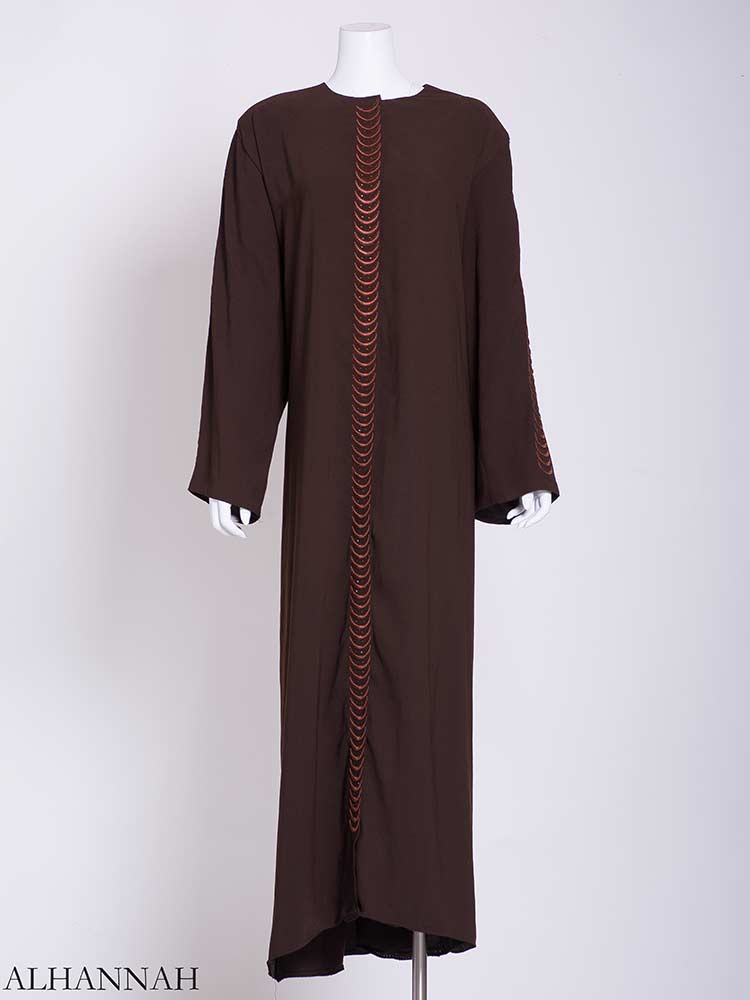 Flowing Embroidered Rhinestone Arches Abaya ab721 (1)