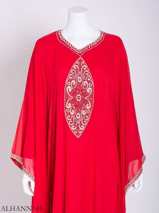 Flowy Arabesque Embroidered Chiffon Abaya ab715 (2)