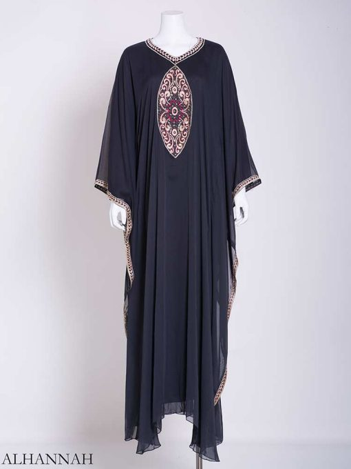Flowy Arabesque Embroidered Chiffon Abaya ab715 (3)