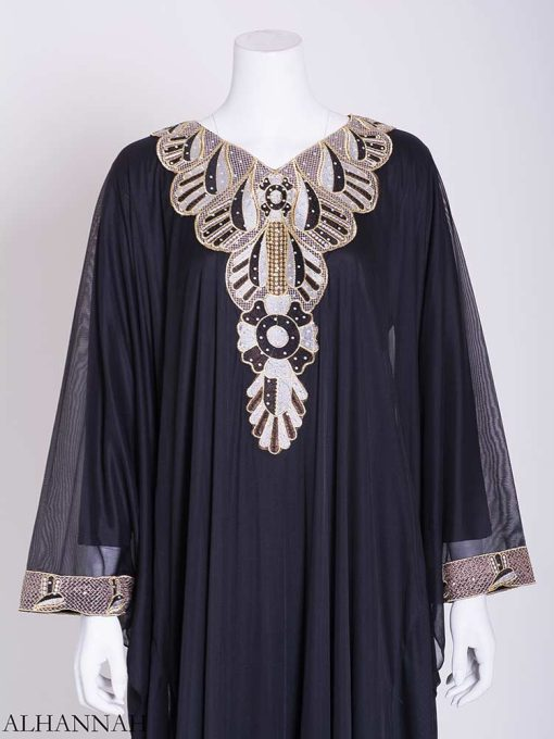 Flowy Black and White Petal Embroidered Chiffon Abaya ab716 (2)