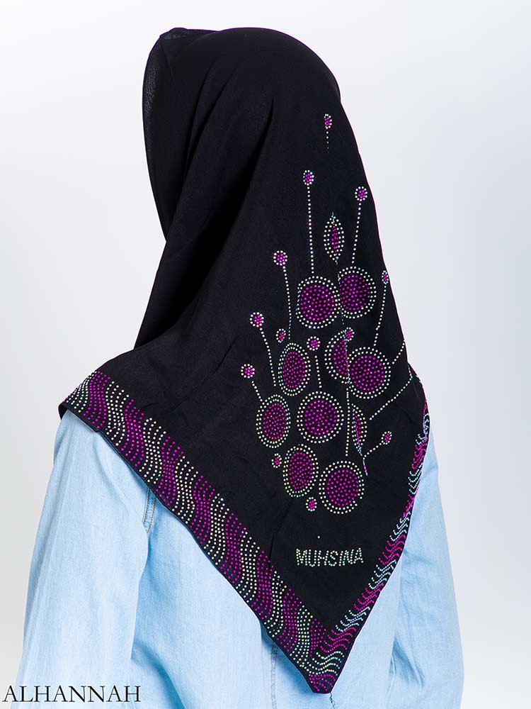 Lollipop Firework Purple Rhinestone Square Hijab hi2166