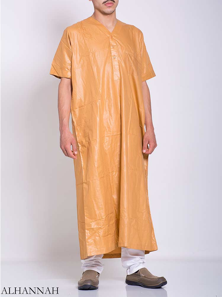 Moroccan Solid Color V-Neck Thobe me768 (1)