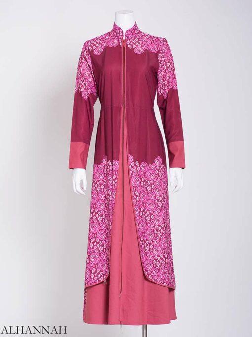 Pink Summer Bloom Layered Abaya ab714 (1)