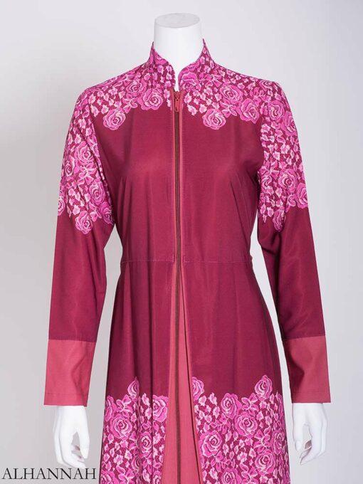 Pink Summer Bloom Layered Abaya ab714 (2)
