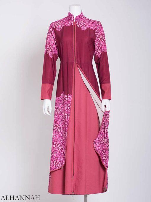 Pink Summer Bloom Layered Abaya ab714 (3)