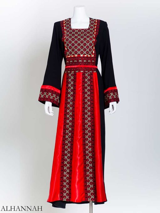 Red Square Satin Embroidered Palestinian Fellaha Thobe (1) th802