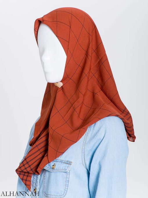Solid Color Plaid Square Hijab hi2167 (10)