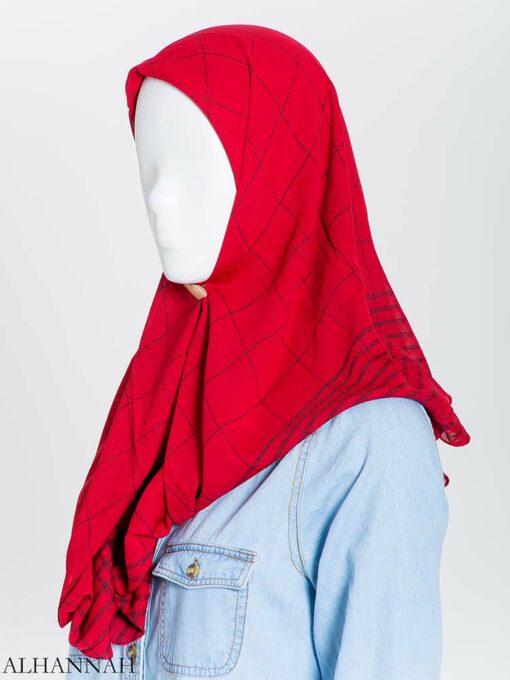 Solid Color Plaid Square Hijab hi2167 (11)