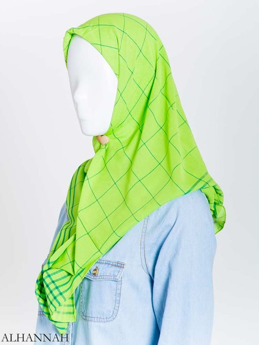 Solid Color Plaid Square Hijab hi2167 (12)