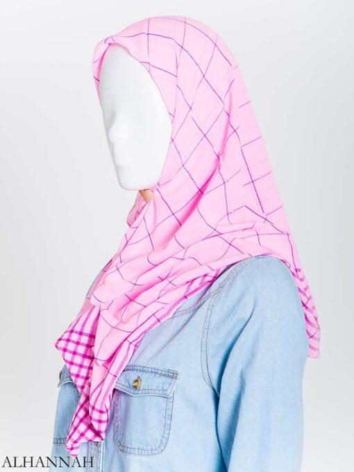 Solid Color Plaid Square Hijab hi2167 (13)