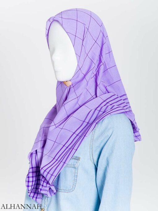 Solid Color Plaid Square Hijab hi2167 (14)