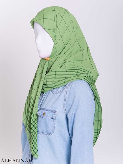 Solid Color Plaid Square Hijab hi2167-2 (1)
