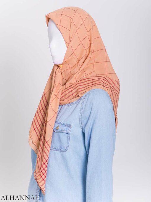 Solid Color Plaid Square Hijab hi2167-2 (2)