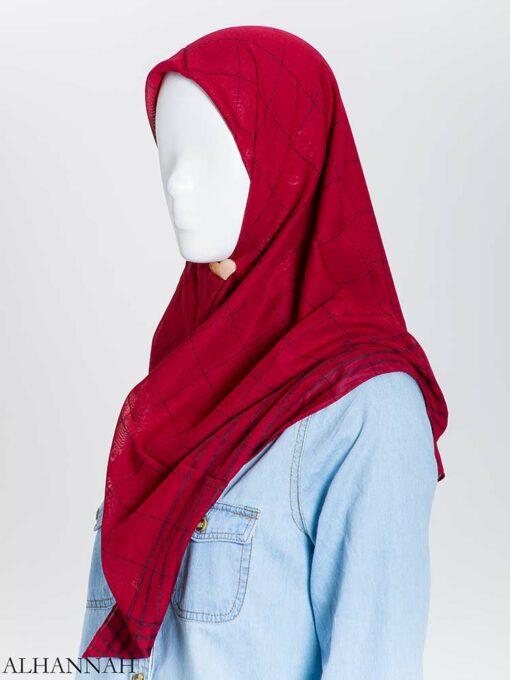 Solid Color Plaid Square Hijab hi2167 (4)