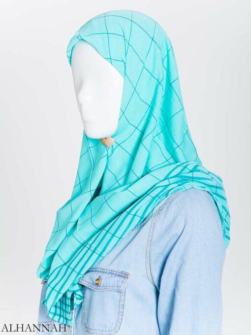 Solid Color Plaid Square Hijab hi2167 (5)