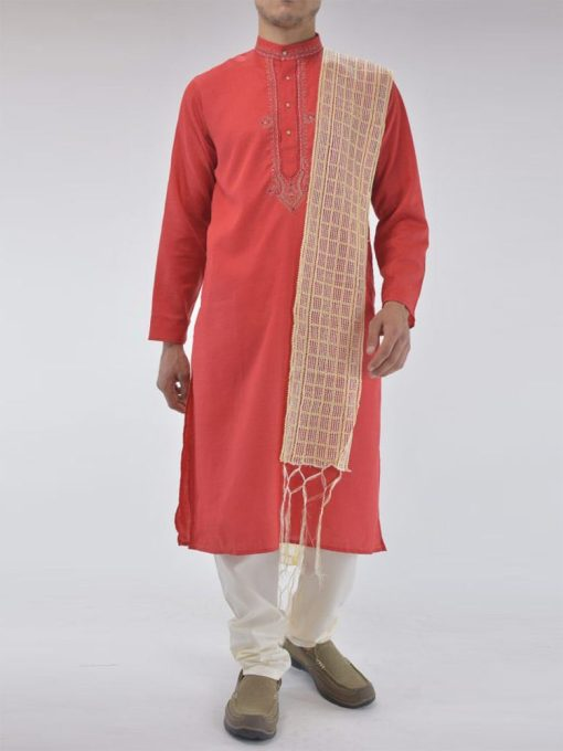 TRADITIONAL COTTON KURTA PAJAMA SUIT WITH FRONTAL EMBROIDERY ME720 (2)