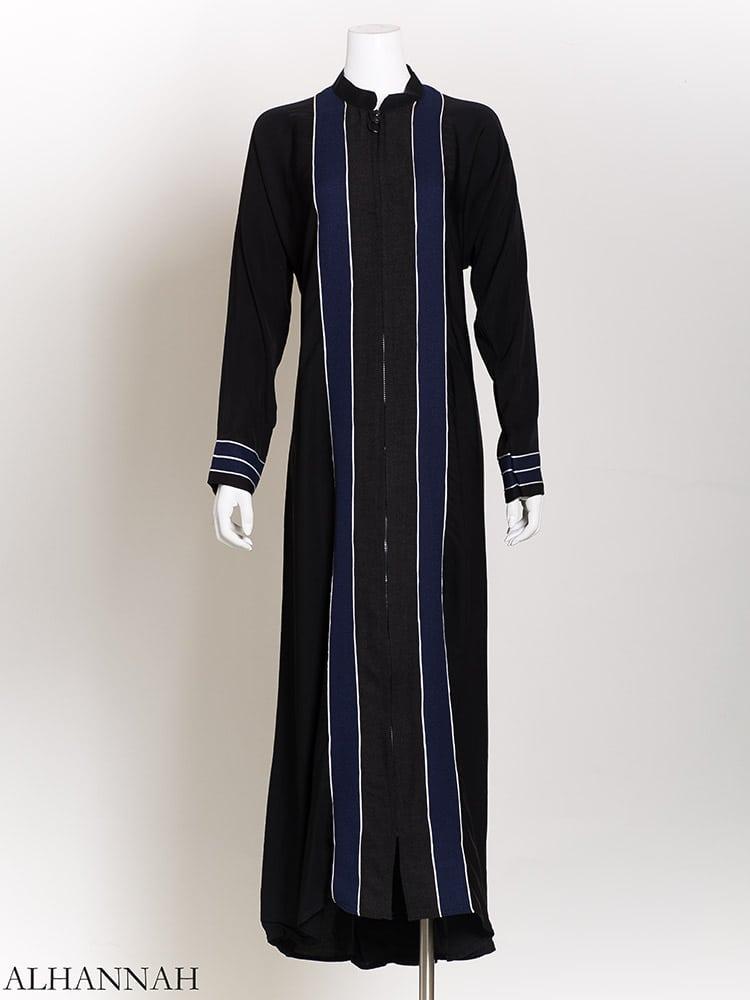 White Striped Navy Banner Abaya ab724