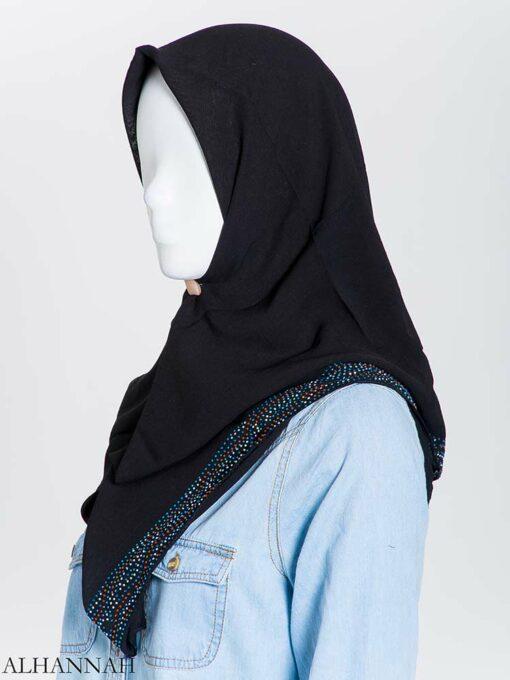 hi2163 Aqua Rose Rhinestone Square Hijab (2)