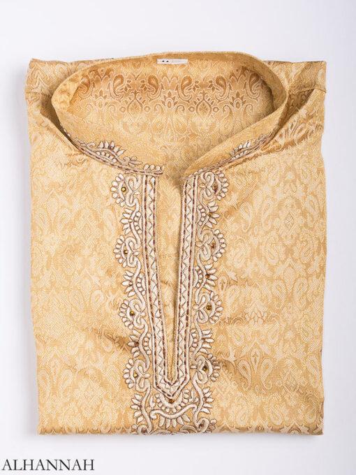Embroidered Damask Jacquard Kurta me780 (14)
