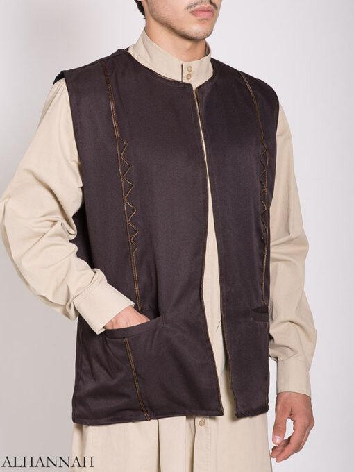 Embroidered Pocketed Vest me782 (1)