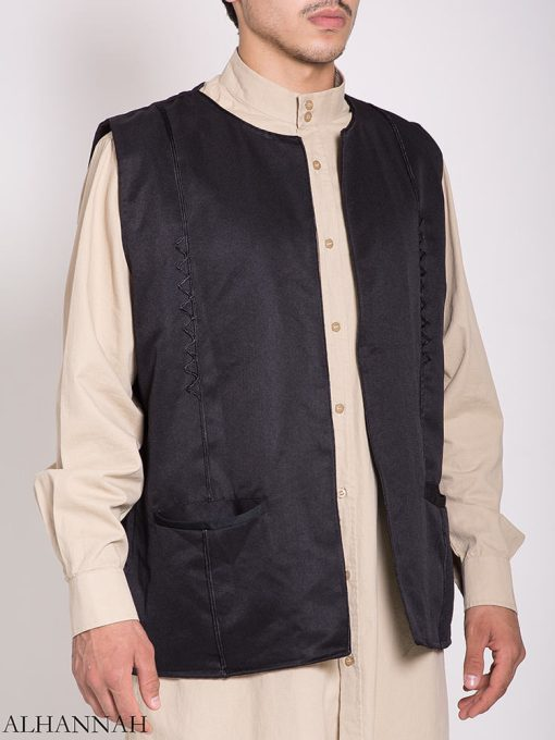 Embroidered Pocketed Vest me782 (4)