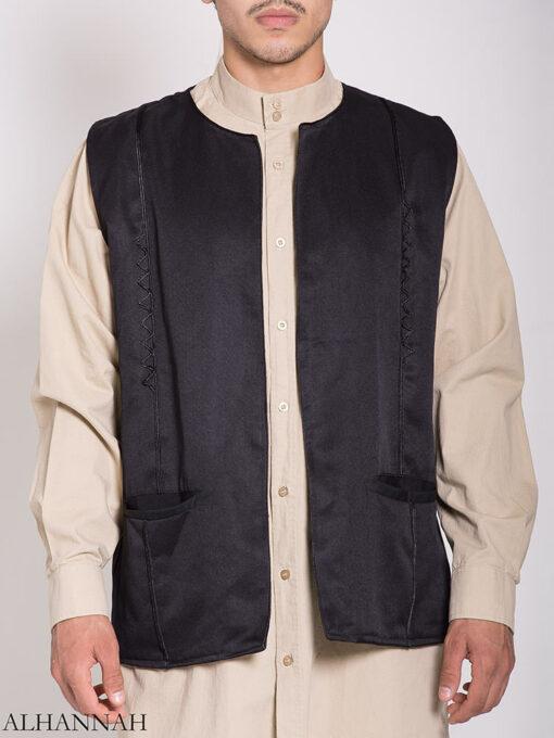 Embroidered Pocketed Vest me782 (5)