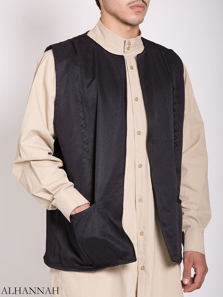 Embroidered Pocketed Vest me782 (6)