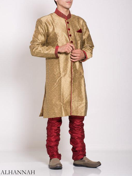 Gold Zari Vine Jacquard & Velvet Salwar Kameez me781 (1)