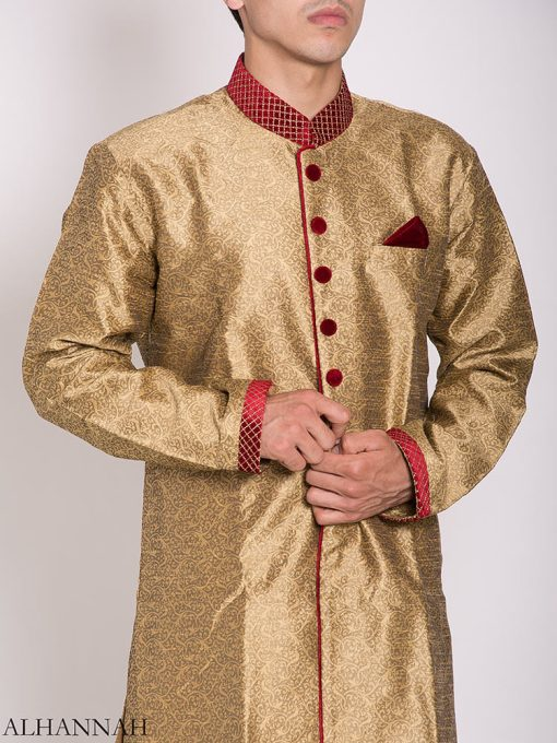 Gold Zari Vine Jacquard & Velvet Salwar Kameez me781 (2)