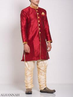 Red Zari Vine Jacquard & Velvet Salwar Kameez me775 (1)