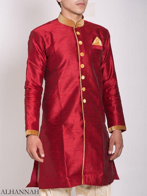 Red Zari Vine Jacquard & Velvet Salwar Kameez me775 (2)