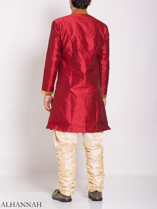 Red Zari Vine Jacquard & Velvet Salwar Kameez me775 (3)
