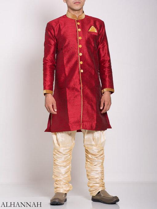 Red Zari Vine Jacquard & Velvet Salwar Kameez me775 (4)