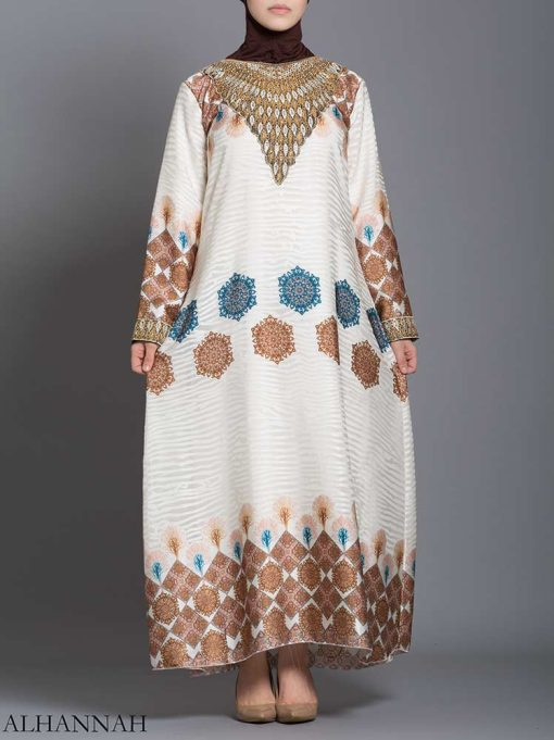 Arabesque Striped Embroidered Floral Abaya ab725 (1)