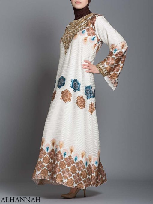 Arabesque Striped Embroidered Floral Abaya ab725 (3)