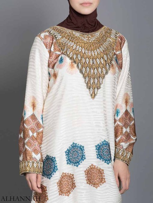 Arabesque Striped Embroidered Floral Abaya ab725 (4)