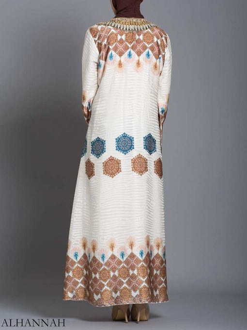 Arabesque Striped Embroidered Floral Abaya ab725 (6)