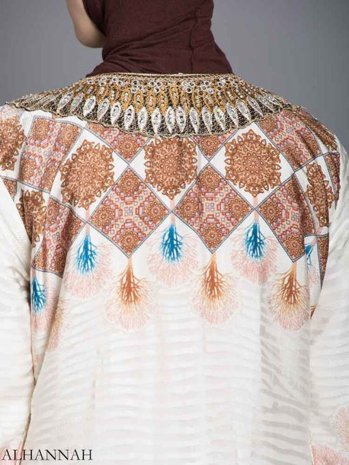 Arabesque Striped Embroidered Floral Abaya ab725 (7)