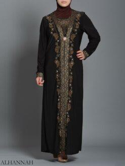 Embellished Pearled Paisley Abaya ab726 (1)
