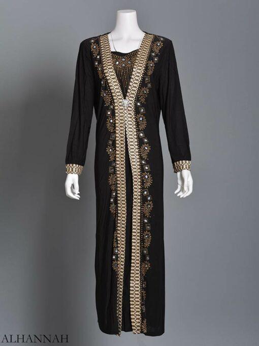 Embellished Pearled Paisley Abaya ab726 (10)
