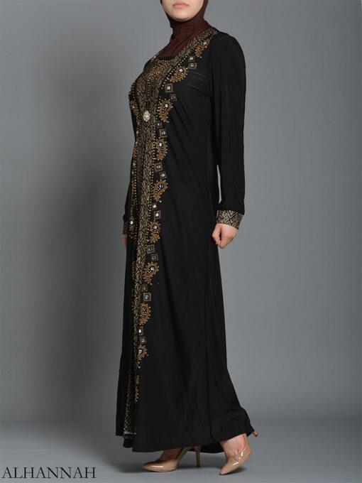 Embellished Pearled Paisley Abaya ab726 (6)