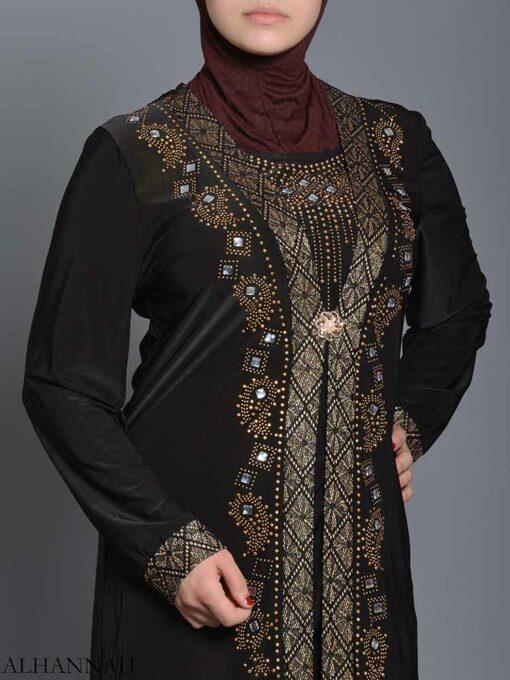 Embellished Pearled Paisley Abaya ab726 (7)
