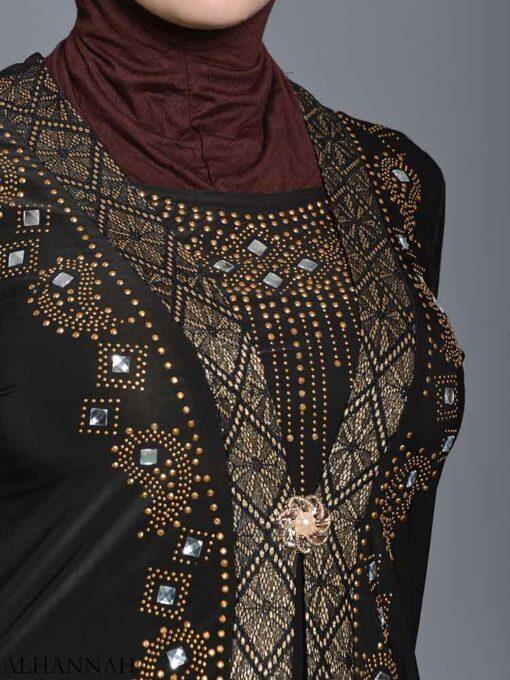 Embellished Pearled Paisley Abaya ab726 (8)