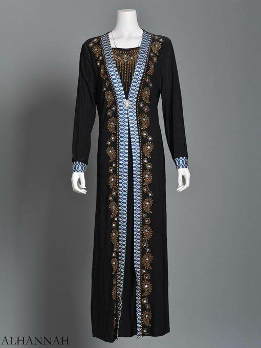 Embellished Pearled Paisley Abaya ab726 (9)